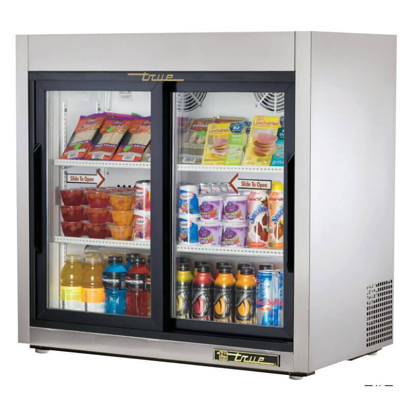 "True TSD-9G-LD 36"" Countertop Refrigerator w/ Front Access - Sliding Door, Stainless, 115v"