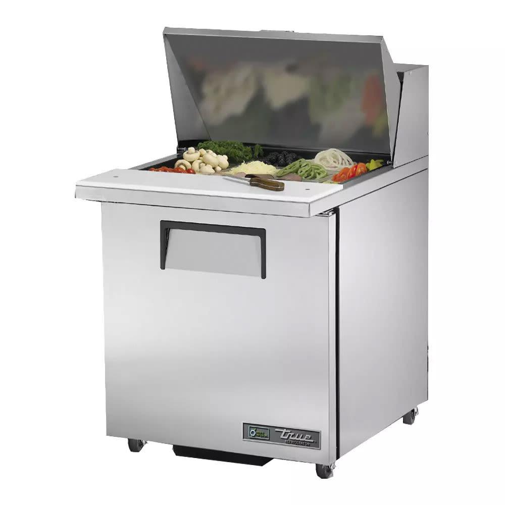 "True TSSU-27-12M-B-HC LH 27"" Mega Top Sandwich / Salad Prep Table w/ Refrigerated Base - Left-hinged Door, 115V"