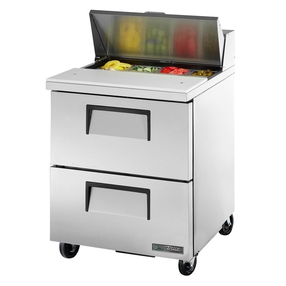 "True TSSU-27-08D-2-HC 27"" Sandwich/Salad Prep Table w/ Refrigerated Base, 115v"