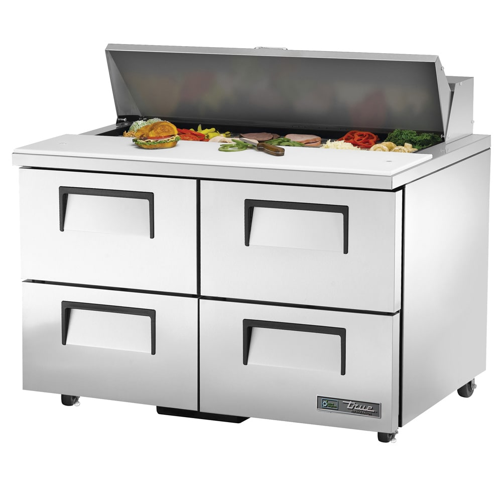 "True TSSU-48-12D-4-HC 48"" Sandwich/Salad Prep Table w/ Refrigerated Base, 115v"