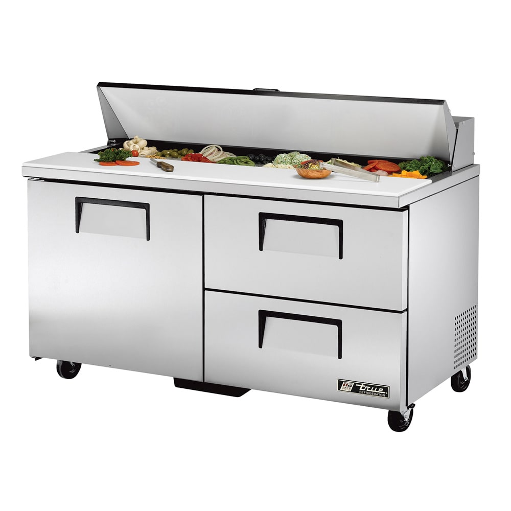 "True TSSU-60-16D-2-HC 60"" Sandwich/Salad Prep Table w/ Refrigerated Base, 115v"