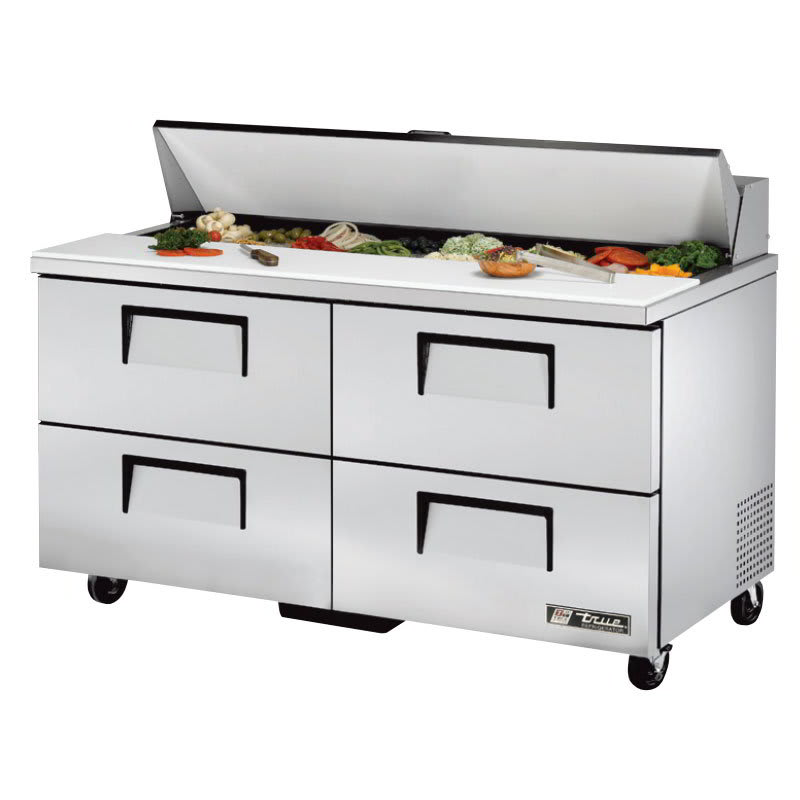 "True TSSU-60-16D-4-HC 60"" Sandwich/Salad Prep Table w/ Refrigerated Base, 115v"