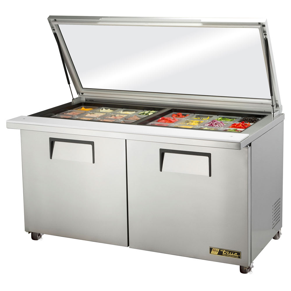 "True TSSU-60-24M-B-ST-FGLID-HC 60"" Sandwich/Salad Prep Table w/ Refrigerated Base, 115v"