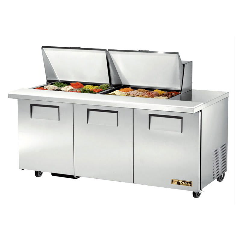 "True TSSU-72-24M-B-ST-HC 72"" Sandwich/Salad Prep Table w/ Refrigerated Base, 115v"