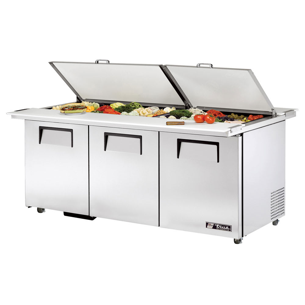 "True TSSU-72-30M-B-DS-ST-HC 72"" Sandwich/Salad Prep Table w/ Refrigerated Base, 115v"