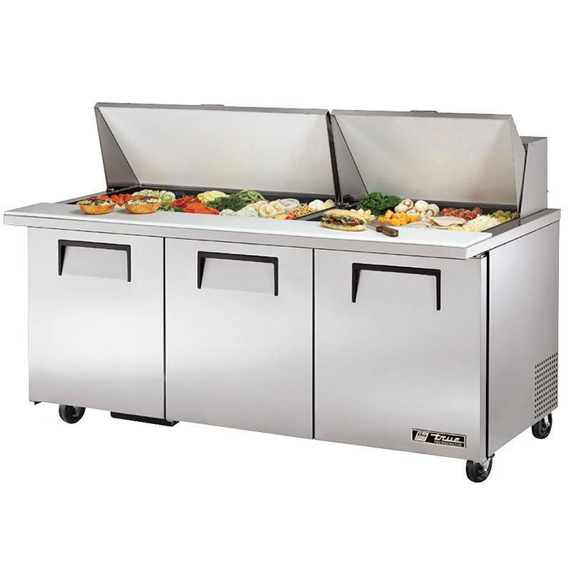"True TSSU-72-30M-B-ST-HC 72"" Sandwich/Salad Prep Table w/ Refrigerated Base, 115v"