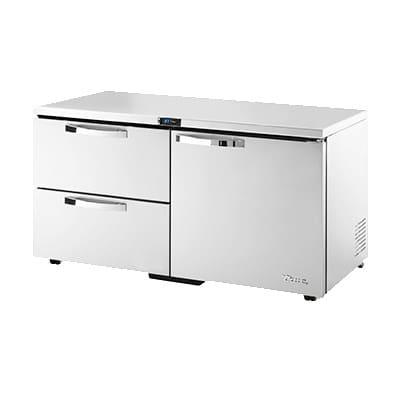 True TUC-60D-2-LP-HC~SPEC1 15.5 cu ft Undercounter Refrigerator w/ (2) Sections, (1) Door & (2) Drawers, 115v