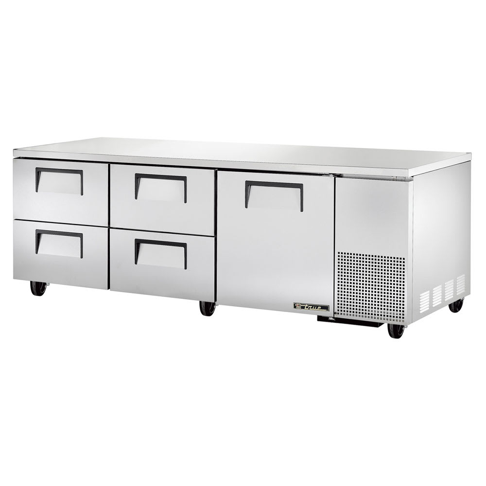 True TUC-93D-4 30.9 cu ft Undercounter Refrigerator w/ (3) Sections, (1) Door & (4) Drawers, 115v