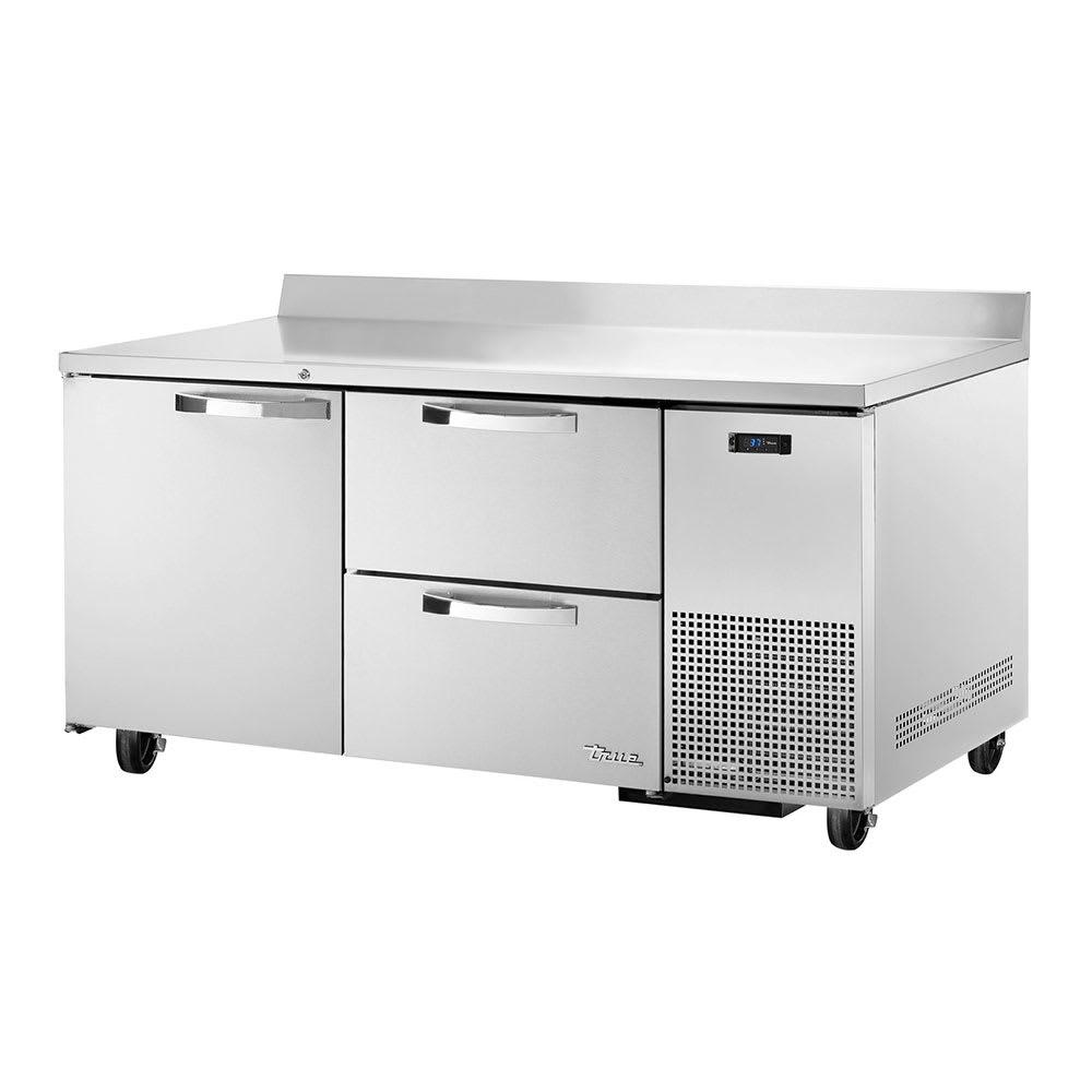 """True TWT-67D-2~SPEC1 67"""" Work Top Refrigerator w/ (2) Sections, (1) Door & (2) Drawers, 115v"""