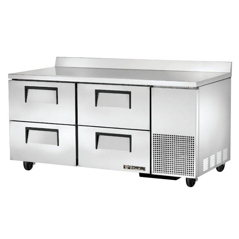 """True TWT-67D-4 67"""" Worktop Refrigerator w/ (2) Sections & (4) Drawers, 115v"""