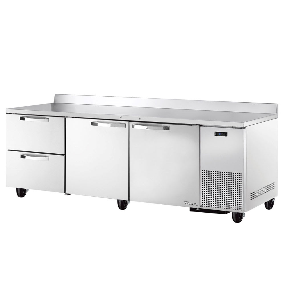 "True TWT-93D-2~SPEC1 93"" Work Top Refrigerator w/ (3) Sections, (2) Doors & (2) Drawers, 115v"