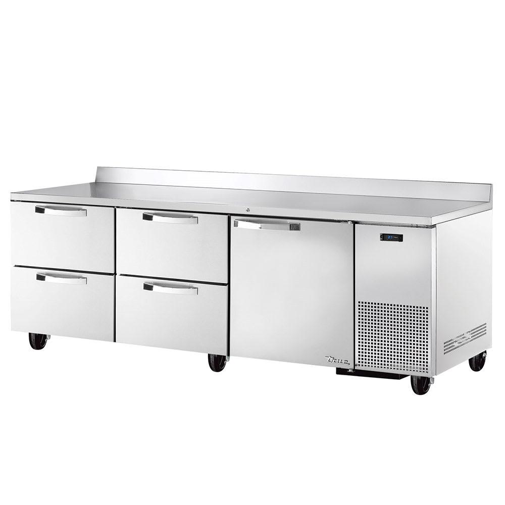 """True TWT-93D-4~SPEC1 93"""" Work Top Refrigerator w/ (3) Sections, (1) Door & (4) Drawers, 115v"""