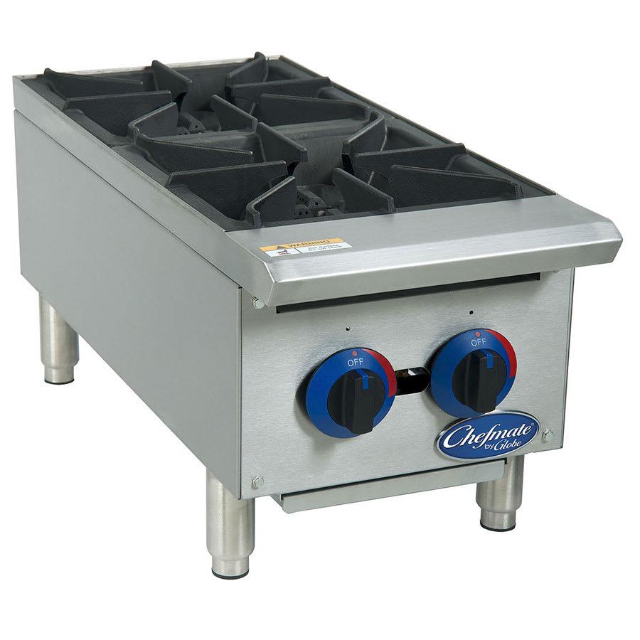 "Globe C12HT 12"" Gas Hotplate w/ (2) Burners & Manual Controls"