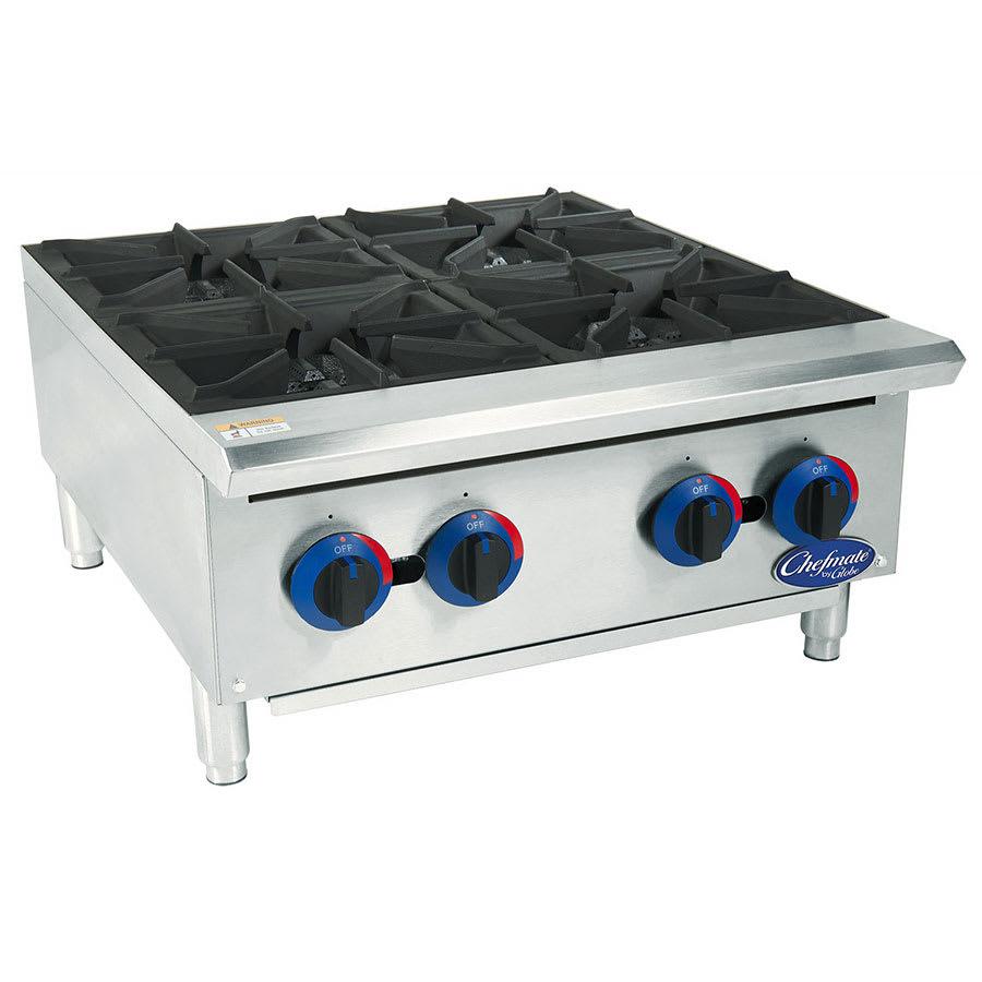 "Globe C24HT 24"" Gas Hotplate w/ (4) Burners & Manual Controls, NG"