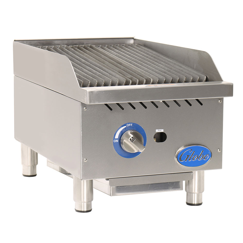 """Globe GCB15G-CR 15"""" Countertop Gas Charbroiler w/ Cast-Iron Grates, Radiant"""