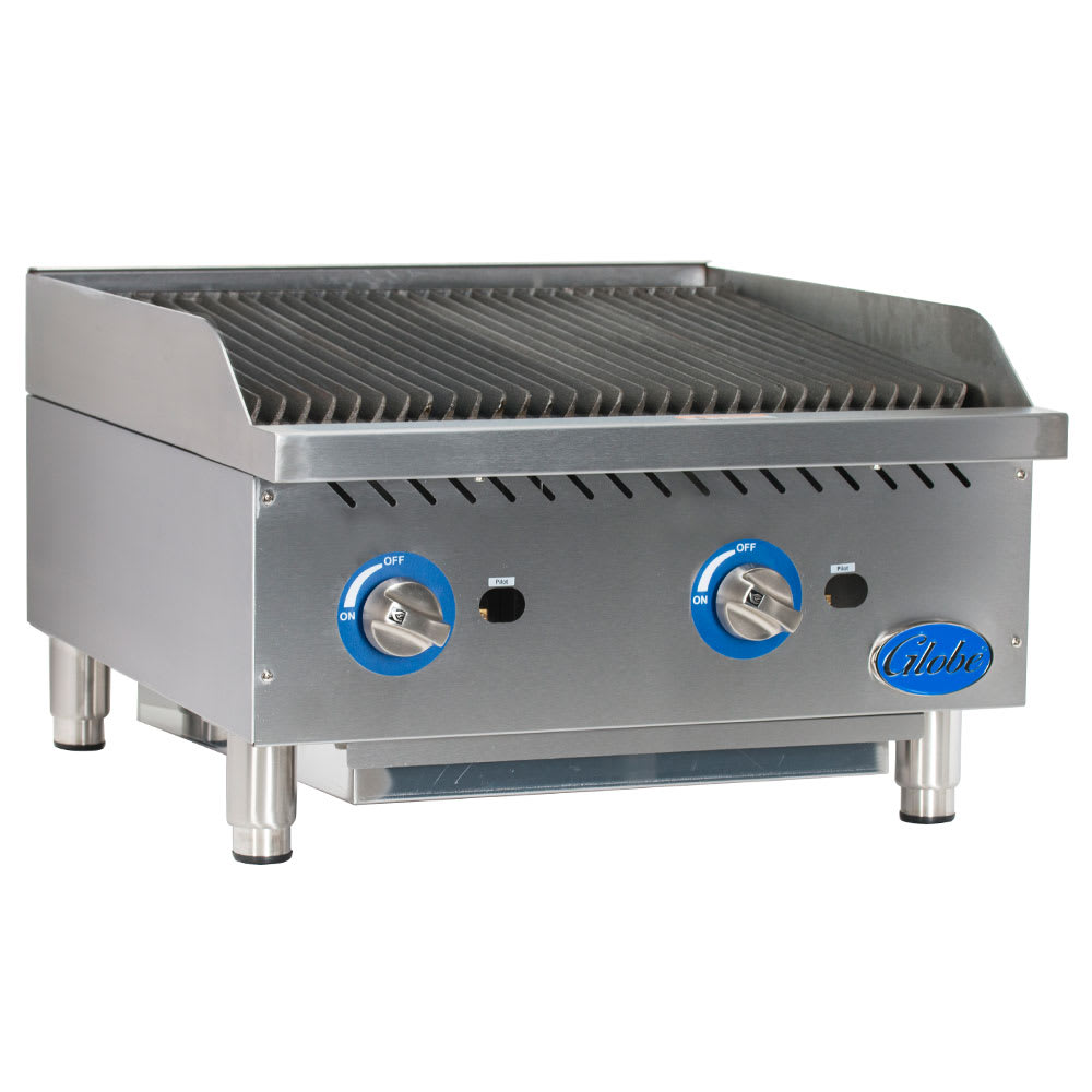 "Globe GCB24G-SR 24"" Countertop Gas Charbroiler w/ Cast-Iron Grates, Radiant"
