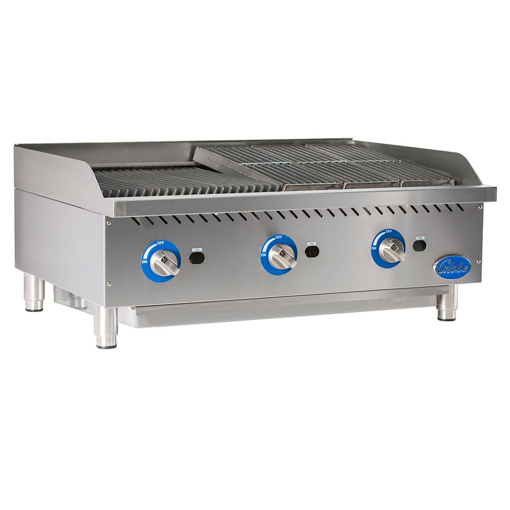 "Globe GCB36G-CR 36"" Countertop Gas Charbroiler w/ Reversible Grates, Radiant, Stainless"