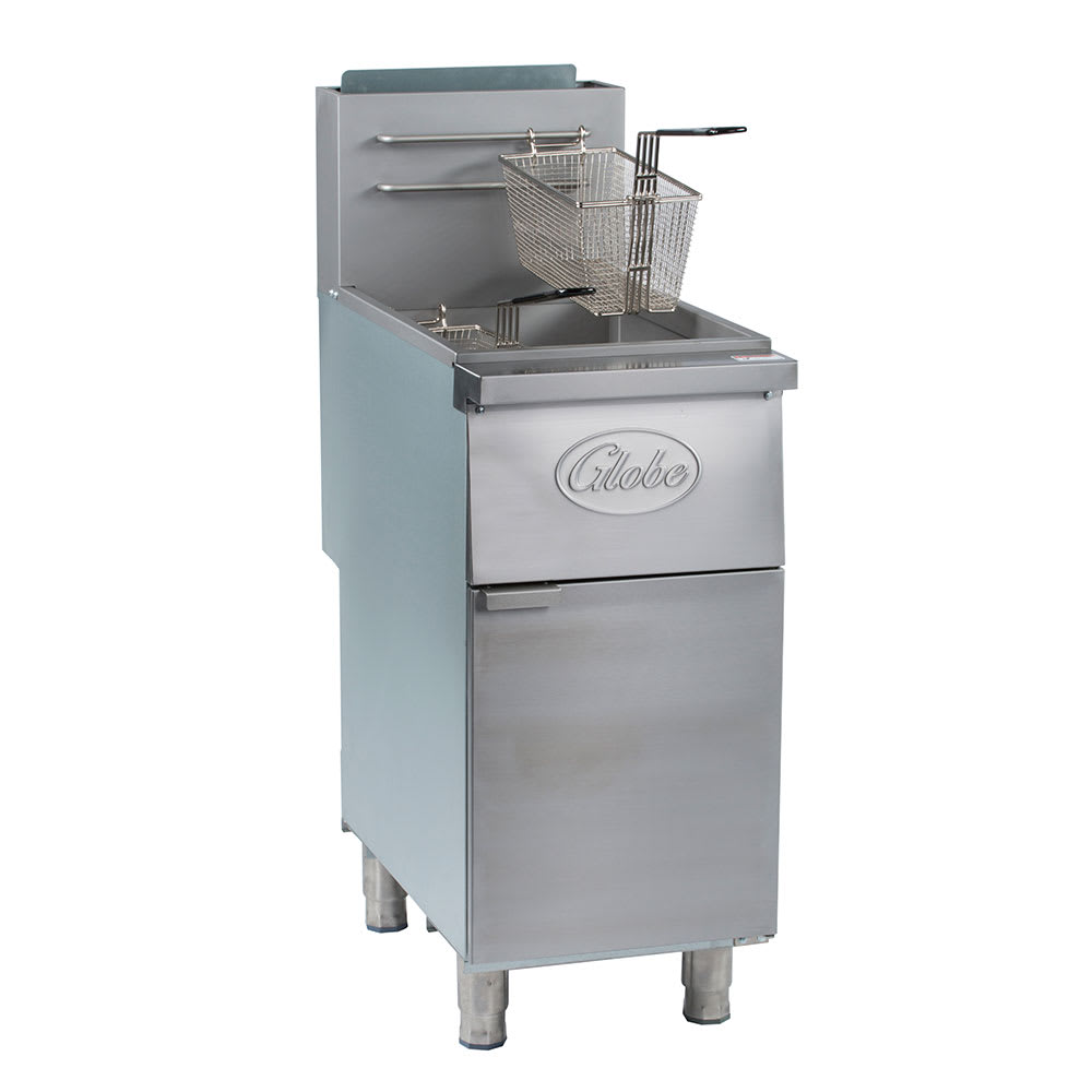 Globe GFF50G Gas Fryer - (1) 50 lb Vat, Floor Model, NG