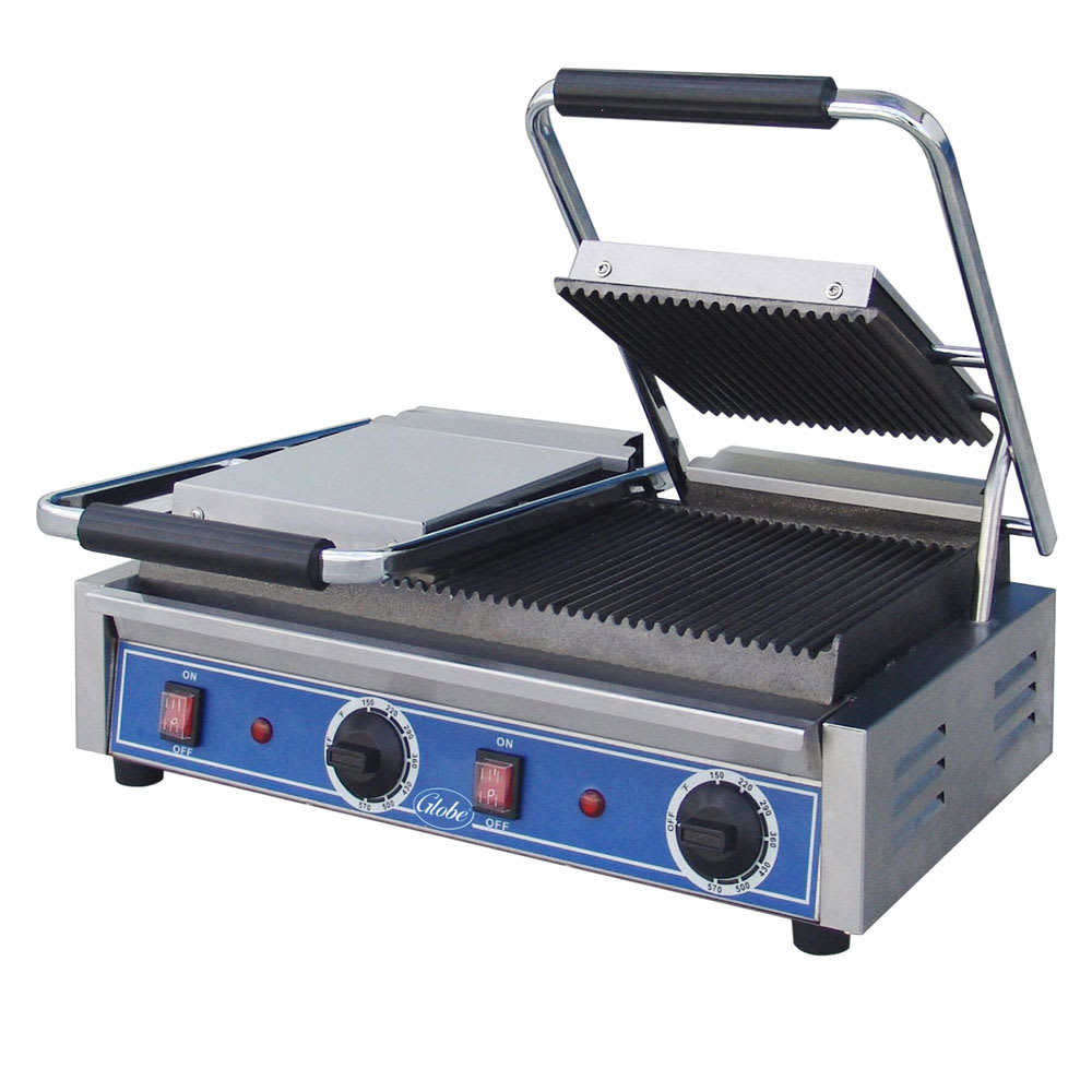 Globe GPGDUE10 Double Commercial Panini Press w/ Cast Iron Grooved Plates, 240v/1ph