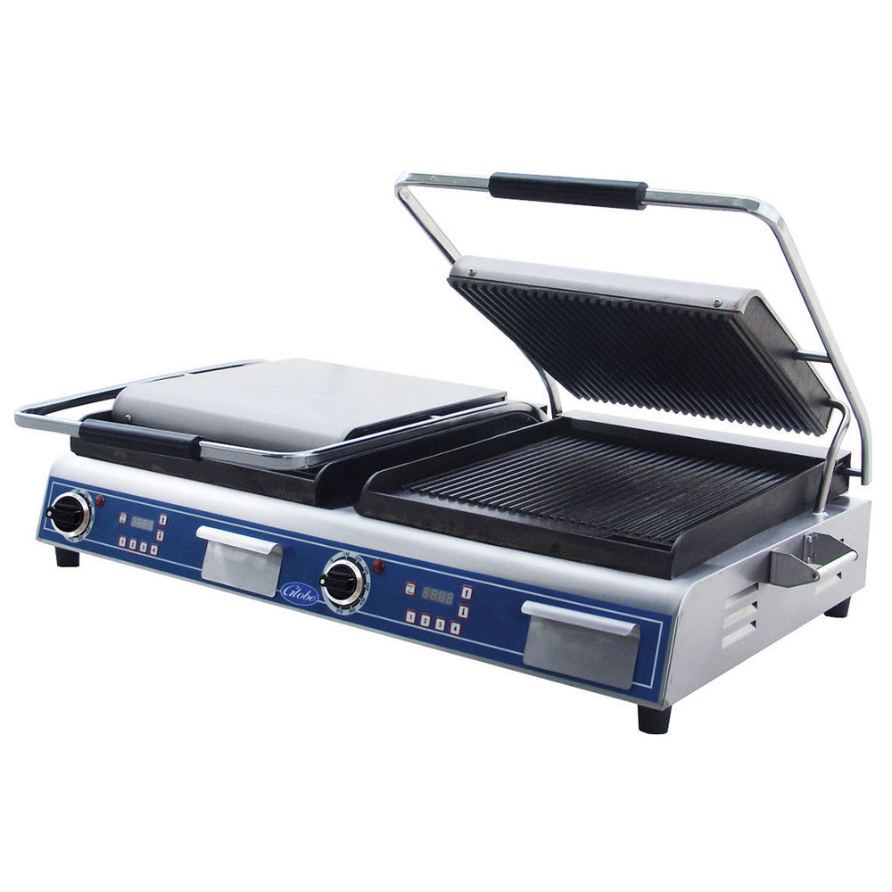 Globe GPGDUE14D Double Commercial Panini Press w/ Cast Iron Grooved Plates, 208 240v/1ph