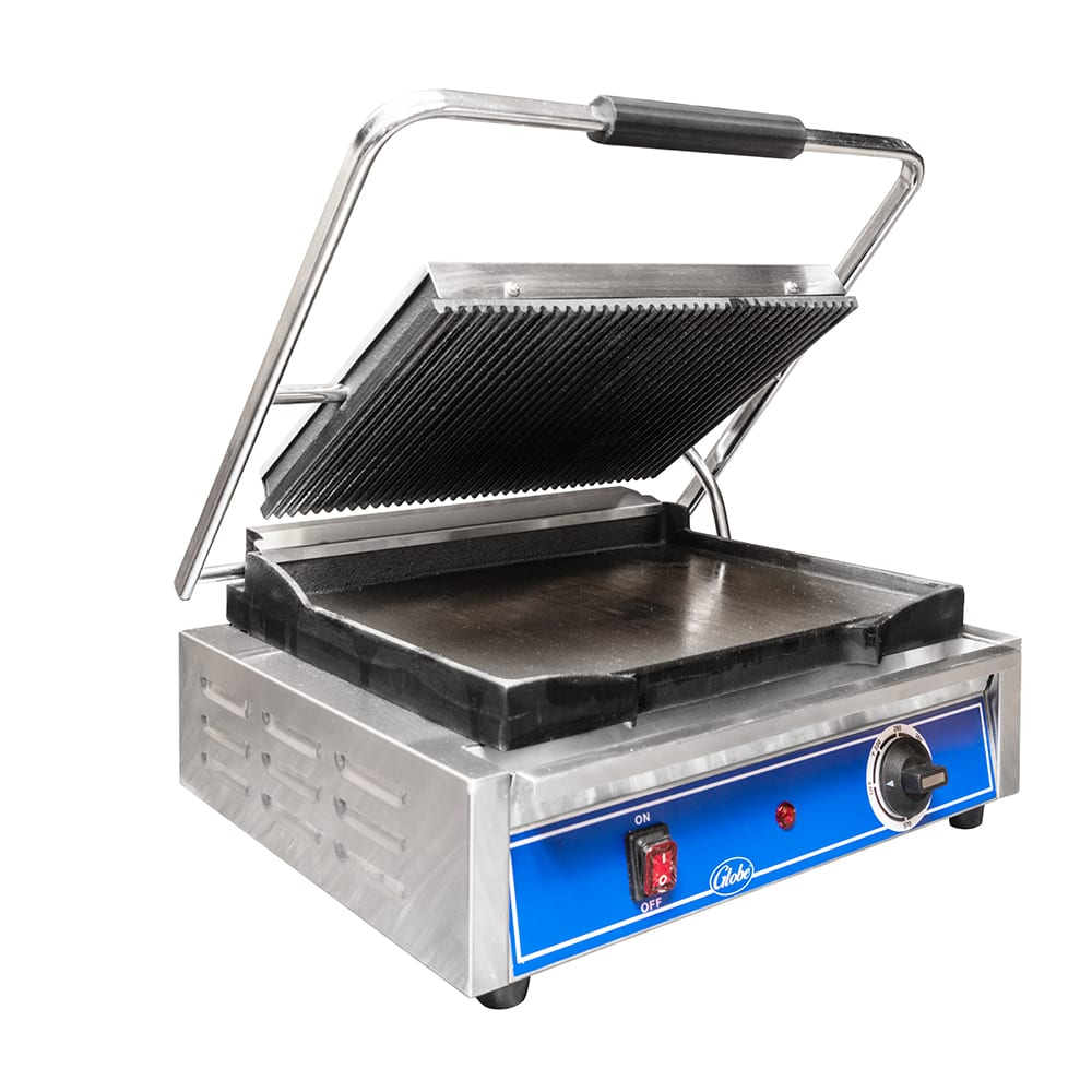 Globe GPGS1410 Commercial Panini Press w/ Cast Iron Grooved Plates, 120v