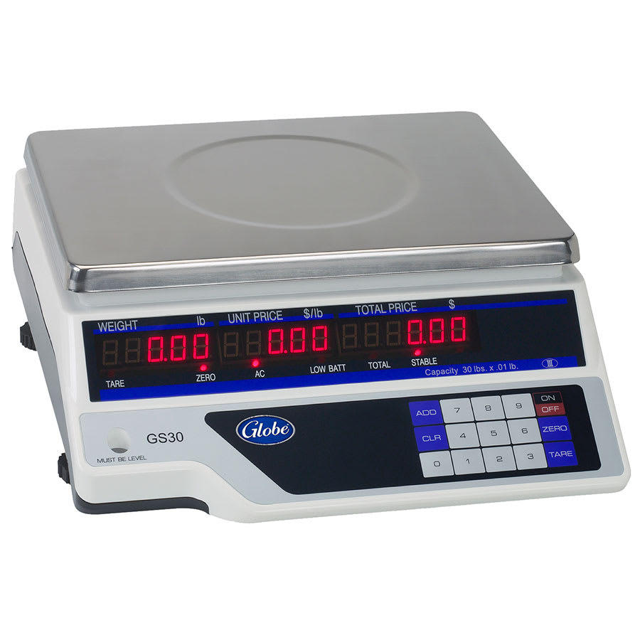 Globe GS30 30 lb Price Computing Scale - Auto Shut-Off, 115v