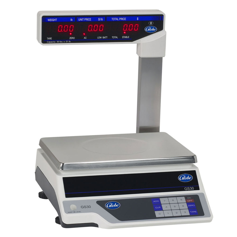 Globe GS30T 30 lb Price Computing Scale - Display Tower, 115v