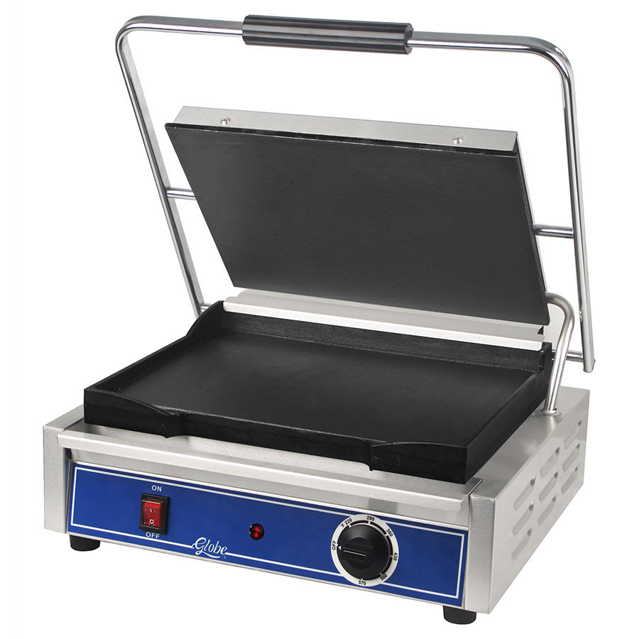 Globe GSG1410 Commercial Panini Press w/ Cast Iron Smooth Plates, 120v