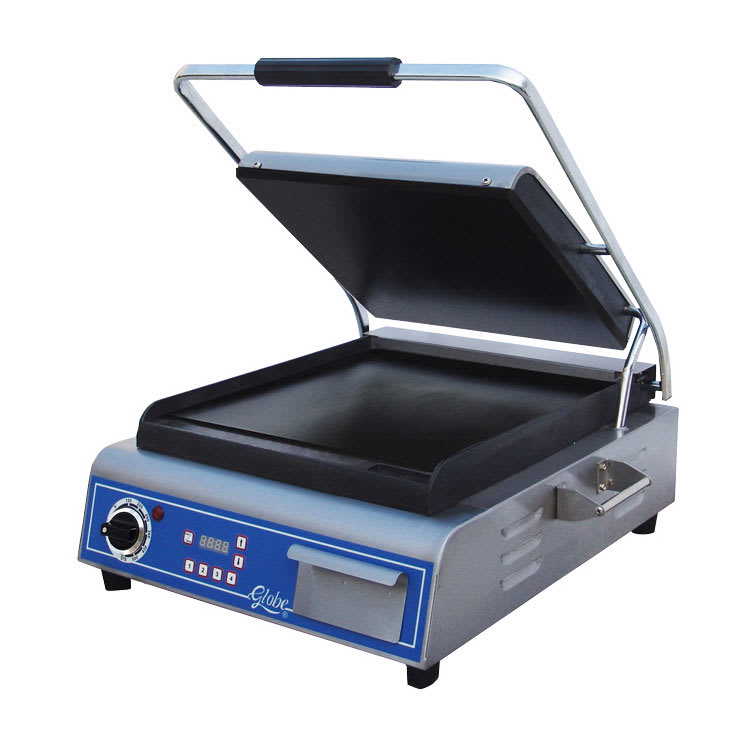 Globe GSG14D Commercial Panini Press w/ Cast Iron Smooth Plates, 120v