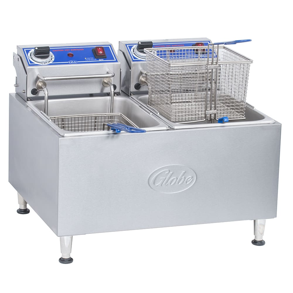 Globe PF32E Countertop Electric Fryer - (2) 16-lb Vat, 208-240v/1ph