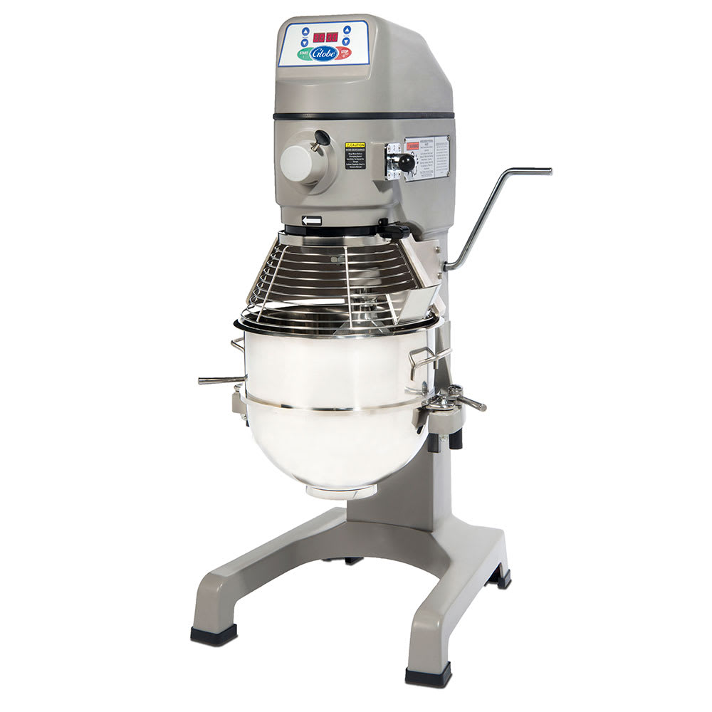 Globe SP30P 30 Qt Mixer w/ Bowl, Dough Hook, Wire Whip, Flat Beater, Chute