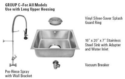 Hobart ACCESS-GROUPC Disposer Accessories w/ Vinyl Silver Saver Splash Guard Ring & Vacuum Breaker