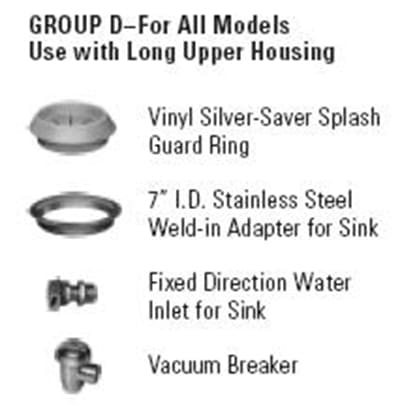 Hobart ACCESS-GROUPD Disposer Accessories w/ Water Inlet Weld In Adapter For Sink & Vacuum Breaker
