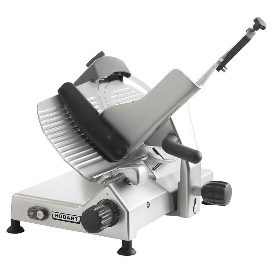 "Hobart EDGE-12 Manual Medium Duty Slicer w/ 12"" Knife & Top Mount Sharpener, Aluminum Finish"
