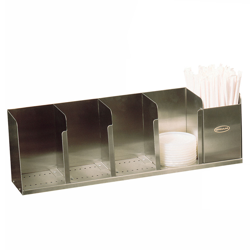 "Modular Dispensing Systems 1004061 22"" Countertop Lid Dispenser w/ 5 Adjustable Dividers, Stainless"