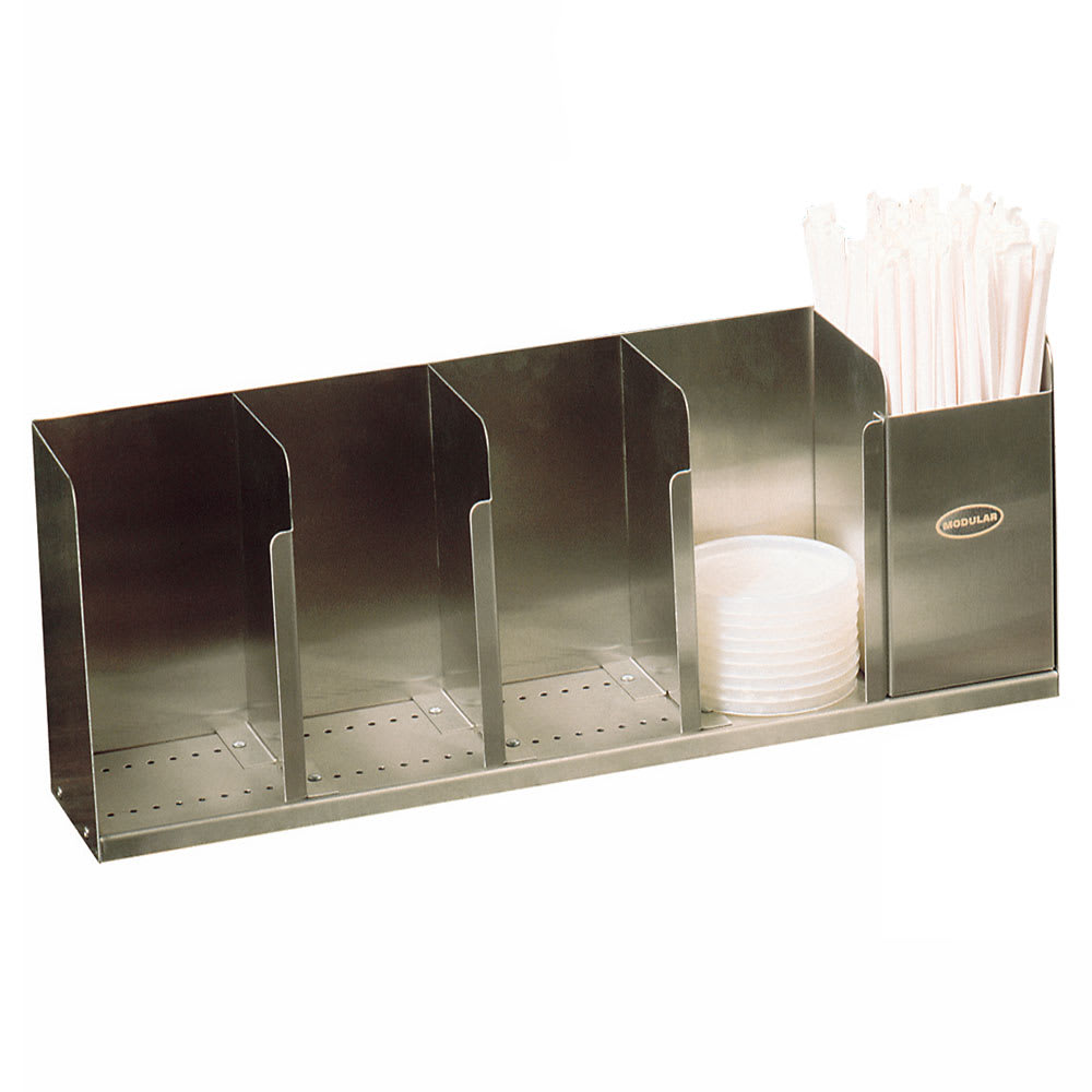 """Modular Dispensing Systems 1004065 22"""" Countertop Lid Dispenser w/ 5-Adjustable Dividers, 12.5"""" H, Stainless"""
