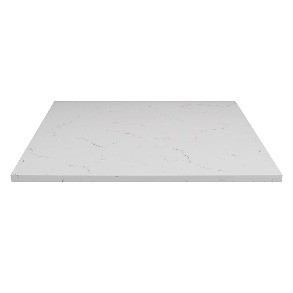 """Art Marble Q-401 24"""" x 30"""" Quartz Table Top - Indoor/Outdoor, Carrera White"""