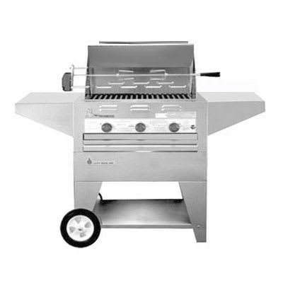 "Big Johns Grills & Rotisseries 210-28M 28"" Mobile Gas Commercial Outdoor Grill w/ Rotisserie, LP"
