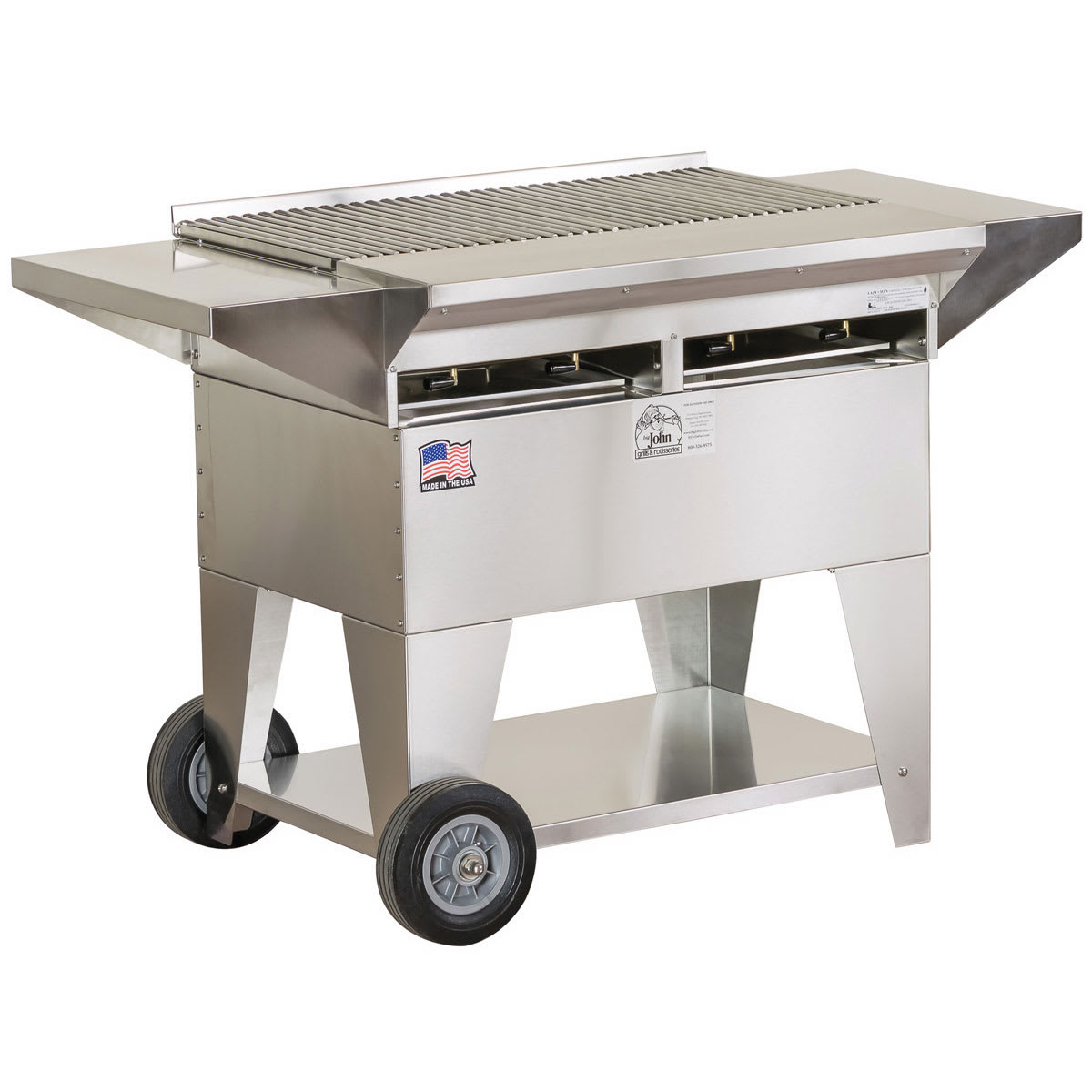 "Big Johns Grills & Rotisseries A2CC-SSE 32.5"" Mobile Gas Commercial Outdoor Grill w/ Multiple Heat Zones, LP"