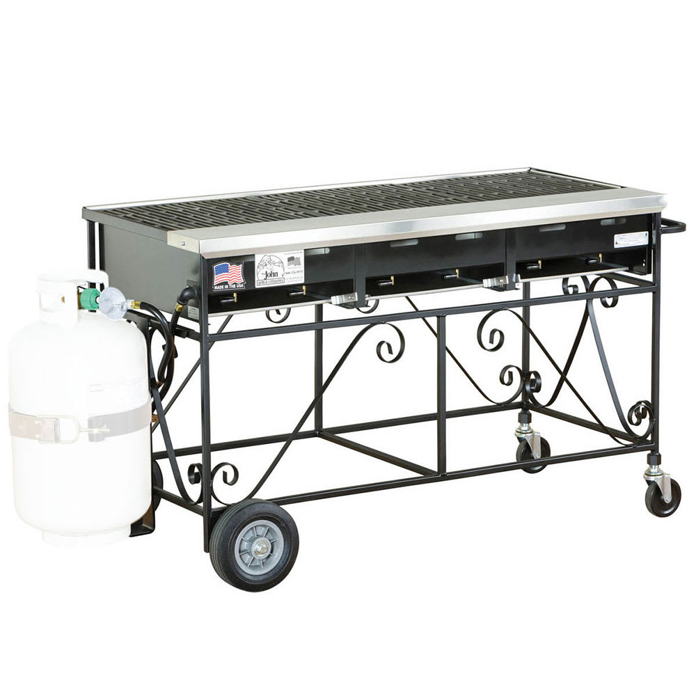 "Big Johns Grills & Rotisseries A3CC-LPCI 49"" Mobile Gas Commercial Outdoor Grill w/ Multiple Heat Zones, LP"