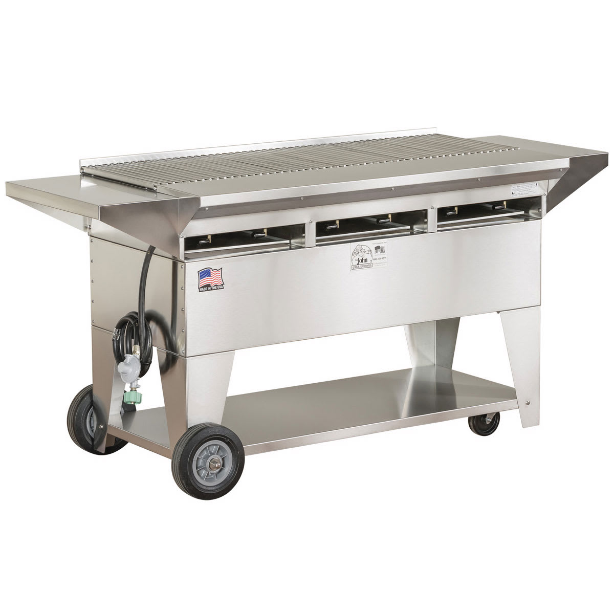 """Big Johns Grills & Rotisseries A3CC-SSE 49"""" Mobile Gas Commercial Outdoor Grill w/ Multiple Heat Zones, LP"""