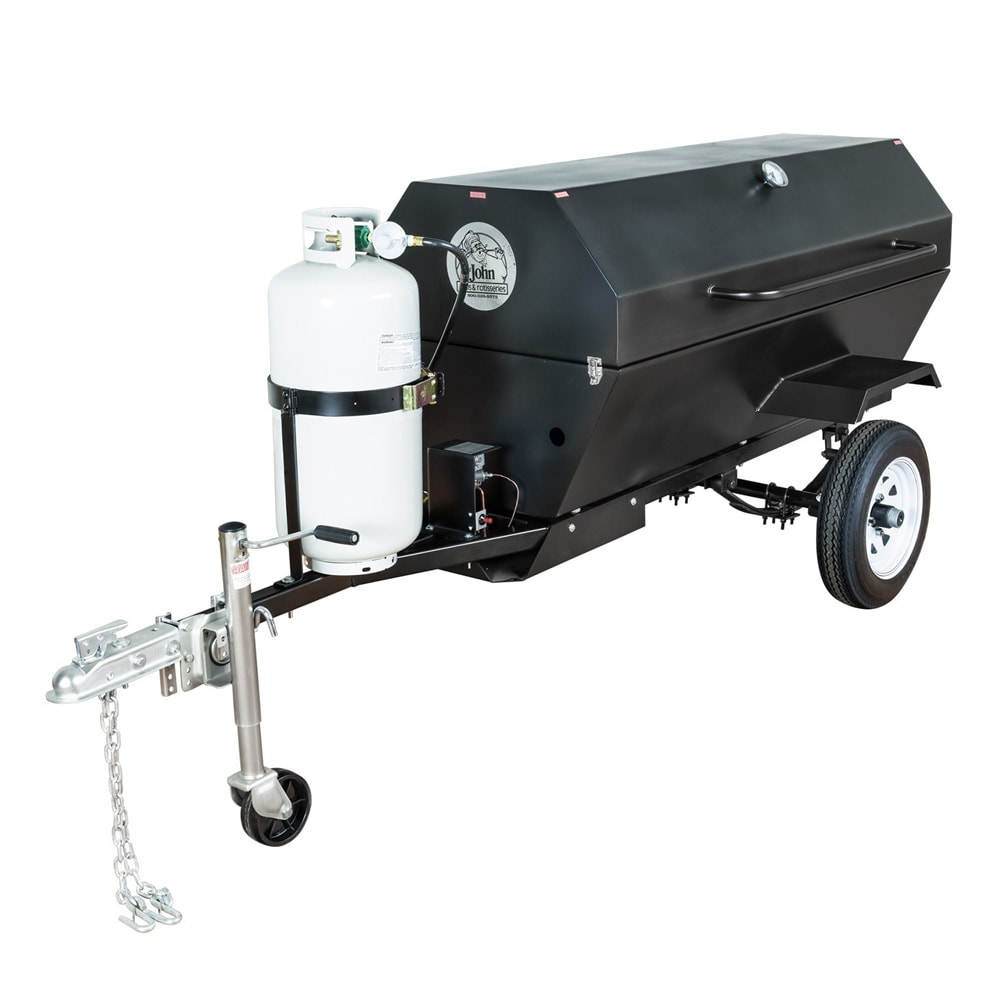 """Big Johns Grills & Rotisseries E-Z WAY 60"""" Towable Gas Commercial Outdoor Roaster Smoker w/ Gas Tank Support, LP"""