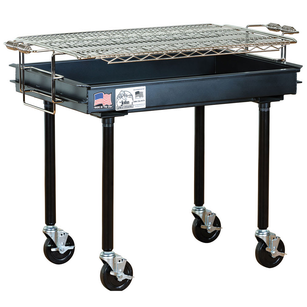 "Big Johns Grills & Rotisseries M-13B 36"" Mobile Charcoal Commercial Outdoor Grill w/ Painted Finish"