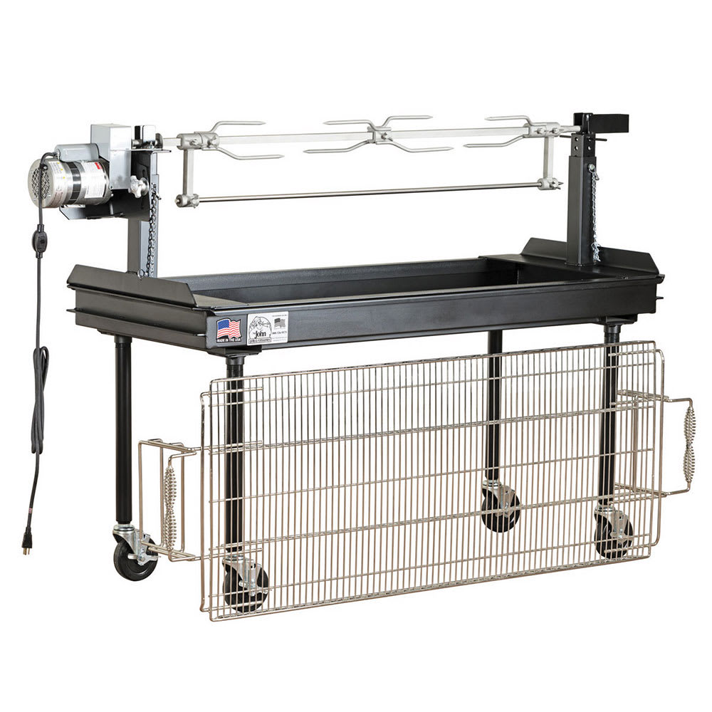 """Big Johns Grills & Rotisseries M-250B 60"""" Mobile Charcoal Commercial Outdoor Grill w/ Rotisserie"""