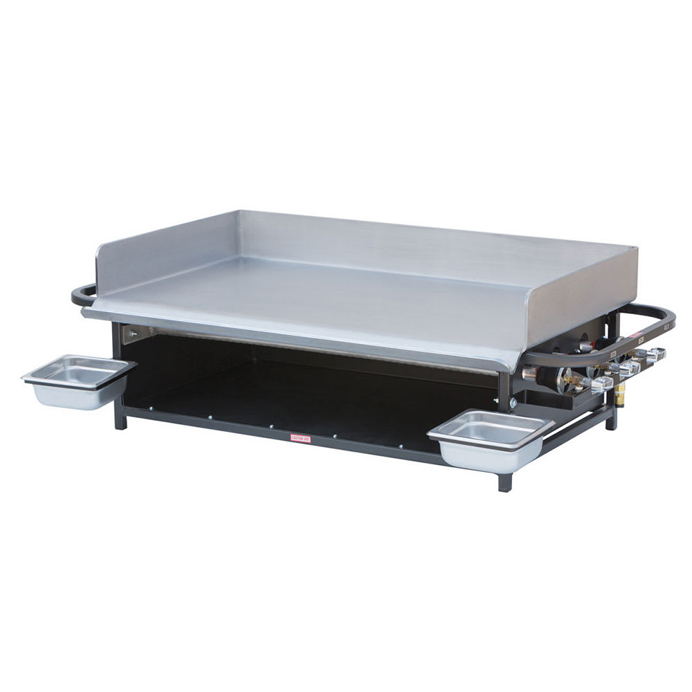 "Big Johns Grills & Rotisseries PG-36 36"" Countertop Gas Commercial Outdoor Griddle w/ Multiple Heat Zones, LP"