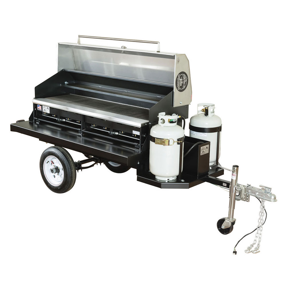 """Big Johns Grills & Rotisseries TRAIL BOSS I 116"""" Towable Gas Commercial Outdoor Grill w/ Multiple Heat Zones, LP"""