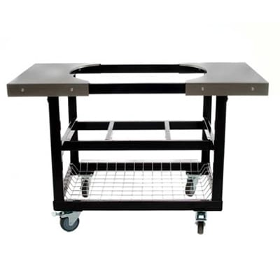 Primo PRM320 Heavy Duty Cart w/ Basket & Stainless Steel Side Table For Junior Oval