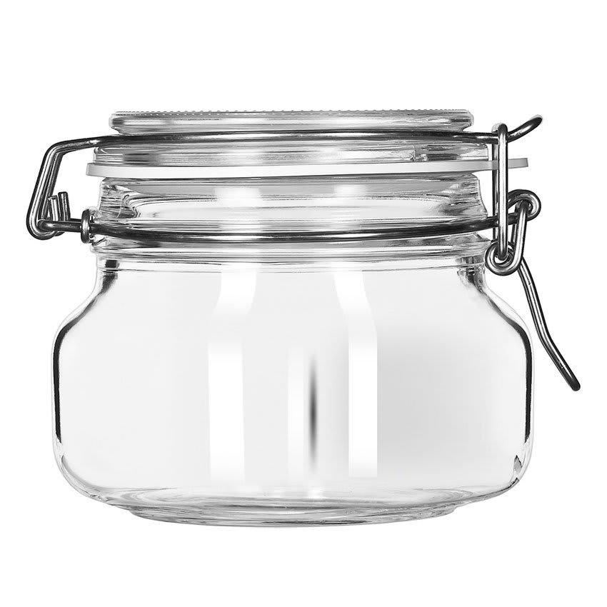 Libbey 17208836 17-oz Glass Jar - Clamp Lid, Large Opening, Rubber Seal