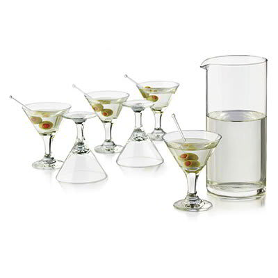 Libbey 3701YS6 Just Cocktails Mini Martini Set w/ 6 Glasses & Pitcher
