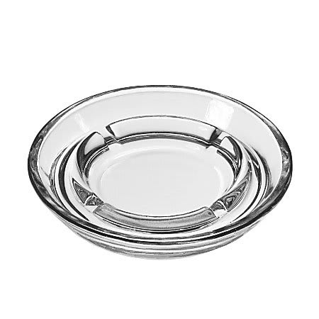 """Libbey 5164 5"""" Round Clear Glass Safety Ash Tray"""